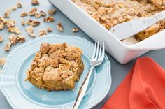 Get your last pumpkin fix in with this easy overnight breakfast bake. It's perfect for a Sunday brunch or holiday get together.