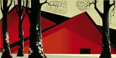 Eyvind Earle Serigraph, THE GREAT RED BARN