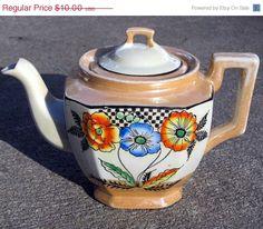Lusterware Handpainted Orange and Blue Poppies Tea Pot