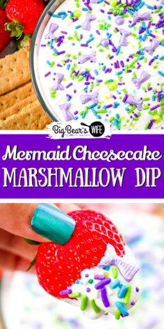 Having a sweet summer party this year or looking for ideas for a Mermaid Party? This Mermaid Cheesecake Marshmallow Dip is perfect for fruit, cookies, pretzels and chocolate mermaid tails! All of the Mermaid lovers in your life will love this sweet treat! Frozen Desserts, Summer Desserts, Fun Desserts, Delicious Desserts, Marshmallow Dip, Marshmallow Cheesecake, Mermaid Party Food, Mermaid Parties, Mermaid Cupcakes