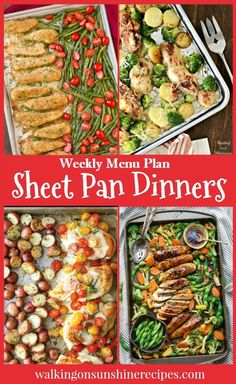 Meal Plan: 5 Easy and Delicious Sheet Pan Dinners Weekly Menu Plan - Sheet Pan Dinners - Easy Recipes for Busy Families featured on Walking on Sunshine.Weekly Menu Plan - Sheet Pan Dinners - Easy Recipes for Busy Families featured on Walking on Sunshine. Healthy Chicken Recipes, Easy Dinner Recipes, Healthy Dinner Recipes, Cooking Recipes, Easy Cooking, Quick Easy Healthy Dinner, Easy Recipes For Two, Simple Healthy Recipes, Simple Healthy Meals