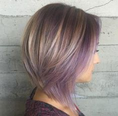 Two-tiered choppy bob with lilac highlights by Jessica Mendieta