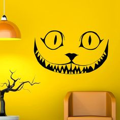 Wall Decal Alice In Wonderland Cheshire Cat Smile Wall Decals Vinyl Stickers Kids Room Baby Nursery Bedroom Dorm Wall Art Home Decor Q044
