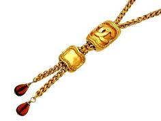 Vintage Chanel necklace CC logo red stone lariat