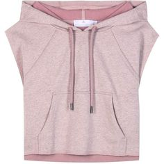 Adidas by Stella McCartney Cropped Cotton Hoodie ($96) ❤ liked on Polyvore featuring tops, hoodies, cotton hoodie, pink top, cropped hooded sweatshirt, sweatshirt hoodies and pink hoodie