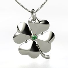 Sterling Silver Necklace with Emerald - perspective