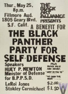 Huey Newton Poster from Fillmore Auditorium on May 25, '67