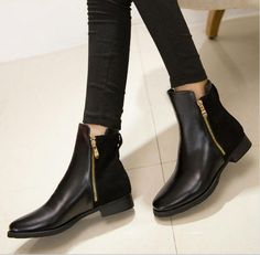 European Style Women Zip up Short Martin Boots Low Flat Heel Bootie Ankle Shoes in Clothing, Shoes & Accessories, Women's Shoes, Boots Black Ankle Boots, Lace Up Boots, Leather Boots, Zapatos Shoes, Cheap Boots, Minimalist Shoes, Buy Shoes Online, Fashion Boots, Chelsea Boots