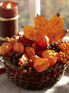 fall decorating 2013 bladder cherries pine cones red orange #EasyNip