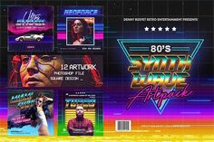 80's Synthwave Square Artpack  by dennybusyet on @creativemarket