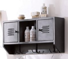 Upstairs bath - gray metal rack for Ryan's fishing/hunting mags. Masculine Bathroom Decorating Ideas, White and Gray Color Combination