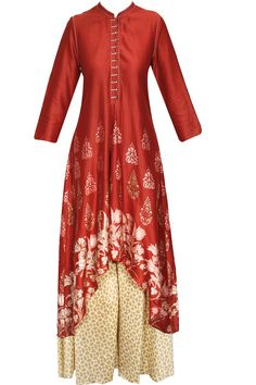 Red floral block print asymmetrical kurta with beige palazzos by Krishna Mehta.