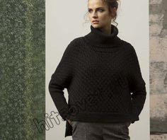 Модный свитер спицами женский, фото 1.