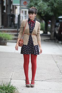red tights. red tights. red tights. / finding at least one suitable outfit to wear with colored tights is my goal for the cool weather season.