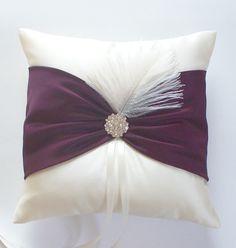 Ivory and Eggplant Ringbearer Pillow with Rhinestone by JLWeddings, $38.50