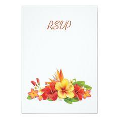 Tropical Wedding RSVP Tropical Hibiscus Wedding RSVP Card