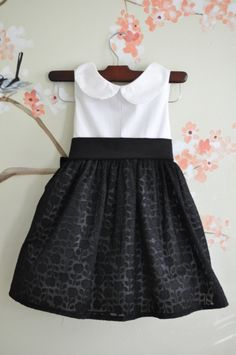 Girls Black and White Floral Dress Holiday Dress.