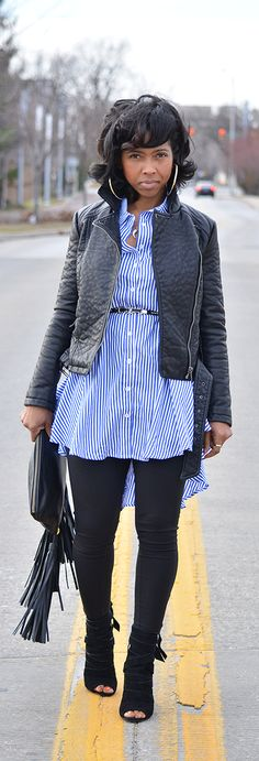 Stripes, Black leggings, Moto Jacket, Fall Outfit Idea, Winter Outfit Idea, Roller Wrap, Open Toe Booties