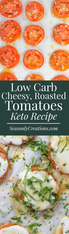 Not sure how to use tomatoes this season? This low carb cheesy roasted tomato recipe is keto-friendly, gluten-free and a great comfort food for fall! Each serving is just 3.8g net carbs and makes the perfect snack or pre-dinner appetizer!