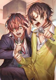 Rap battle Doppo and Adek Aesthetic Japan, Fanart, Rap Battle, Anime Screenshots, Looks Cool, Division, Anime Guys, Vocaloid, Memes