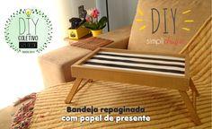 Veja como repaginar uma bandeja de madeira usando papel de presente!