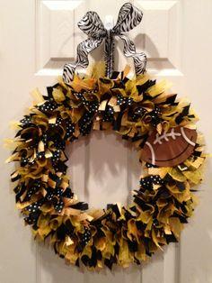Custom Team Ribbon Wreath  Iowa Hawkeyes by WreathedInRibbon, $45.00