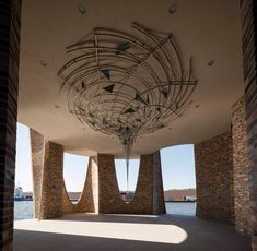Danish artist Olafur Eliasson has completed his first building – a fortress-like office in the Vejle Fjord in Denmark, called Fjordenhus. Vejle, Installation Architecture, Light Installation, Architecture Details, Futuristic Architecture, Studio Olafur Eliasson, Icelandic Artists, Les Fjords, Brick Construction