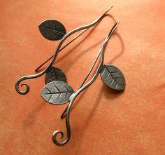 Sterling Silver Leaf Earrings Long Twining Leaf And by Mocahete