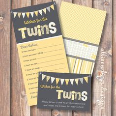 neat idea/game - Printable Baby Shower Game - Funky Letters Twins - Wishes for Baby. $10.00, via Etsy.