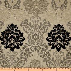 Pretty fabric for living room chair? Kasper Astrid Damask Chenille Jacquard Grey