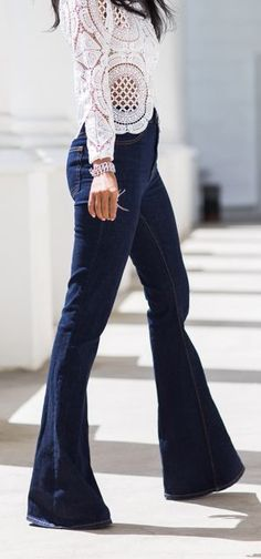 Lace top & flared jeans are a refreshing silhouette after wearing skinny jeans with everything!