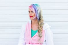 I painted an array of pastels in my hair and a fishtail braid to be a unicorn for Halloween. #pastelhair #hair #pastels #unicorn #fishtail #halloween #pinklips
