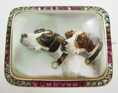 Hand Painted carved rock crystal reverse intaglio brooch with two dogs and gem surround x