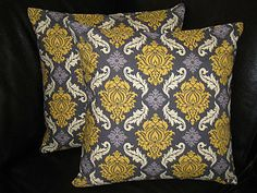 """Pillows DAMASK Pillow Shams TWO 16 inches Decorative Throw Pillow Covers - Joel Dewberry - Grey and Vintage Yellow 16"""". $27.00, via Etsy."""