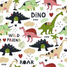 All-over Pattern Vector files Animal Dinosaur Text Graphic & Text/Animal/Dinosaur/Text/Graphic & Text/Vector files/All-over Pattern/Kidswear/Boys/Girls/pattern drafting Dinosaur Illustration, Illustration Art, Baby Boy Background, Pattern Cute, Scrapbook Images, Cute Dinosaur, We Bare Bears, Textiles, Cute Stickers