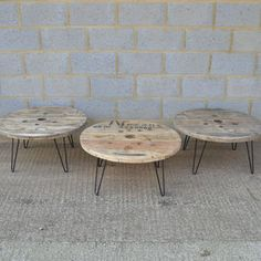 Cable drum coffee tables on hairpin legs by Frances Bradley www.brunswickvintage.com