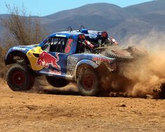 Cool shot of Menzies Motorsports winning his third Baja 500 Victory! #baja500 #trophytruck #redbull #knfilters