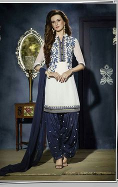 Picture of Admirable Off White Georgette Patiala Salwar Kameez