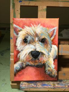 "Westie boy dog painting 5x7"" on canvas by markpaintspets.com"