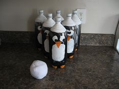 Almost Unschoolers: Our Penguin Party - penguin bowling - knock down painted pop bottle penguins with a rolled up sock snowball Penguin Birthday, Penguin Party, Bear Party, Penguin Craft, Bowling, Christmas Carnival, Winter Wonderland Party, Winter Onederland, Winter Parties