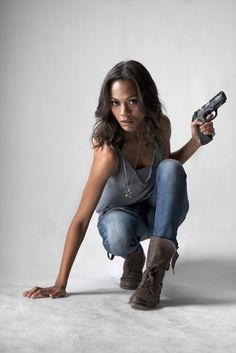 Zoe Saldana - Colombiana. I loved the scene when she is wearing the flannel shirt and the beanie