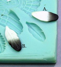 She used a mold for a skinner blend feather shaped cane and made several designs.