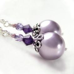 Lavender Pearl Earrings Sterling Silver Swarovski by DorotaJewelry