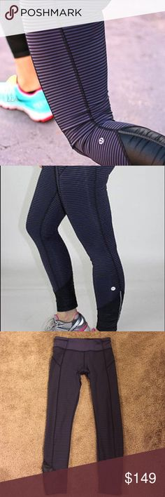 "Lululemon Pace Queen Running Tights Stripe Lululemon Pace Queen running tights in stripe pattern. Excellent used condition with no noteworthy defects. Inseam is about 26.5"" lululemon athletica Pants Leggings"