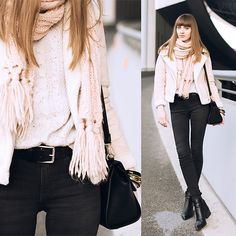 H&m Black Jeans, Look Older, Navy Sweaters, Sweater Fashion, Pastel Pink, Street Fashion, New Look, Old Navy, Ruffle Blouse
