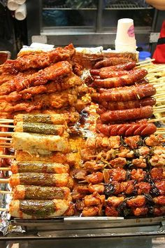 Korean Street Food.You are sure to find similar food on a KOREAN FOOD TOUR from Viator or other tour companies from our guide at: http://www.allaboutcuisines.com/food-tours/south-korea/in/south-korea #Food Tours Korea #Travel South Korea