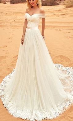 2018 Simple Ivory Wedding Dresses A line Off The Shoulder Modest Tulle Lace Wedding Bridal Gowns
