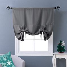 NICETOWN Thermal Insulated Blackout Curtain - Bathroom Curtain Grey Tie Up Shade for Small Window, Window Valance Balloon Blind (Rod Pocket Panel, 46 inches W x 63 inches L) Tie Up Curtains, Grey Blackout Curtains, Small Window Curtains, Bathroom Window Curtains, Bathroom Windows, Cool Curtains, Thermal Curtains, Small Windows, Blinds For Windows