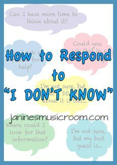 "An awesome freebie for when your students answer with ""I don't know""."