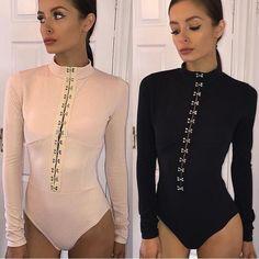 Women Long Sleeves Romper Bodycon Bodysuit Bandage Jumpsuit Tops Leotard Dress